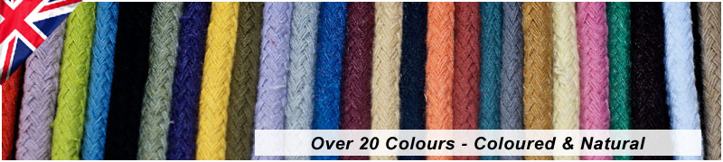 coloured cotton braids in cotton cotton rope braids showing the colour range