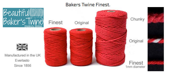 information on the different sizes of bakers twines