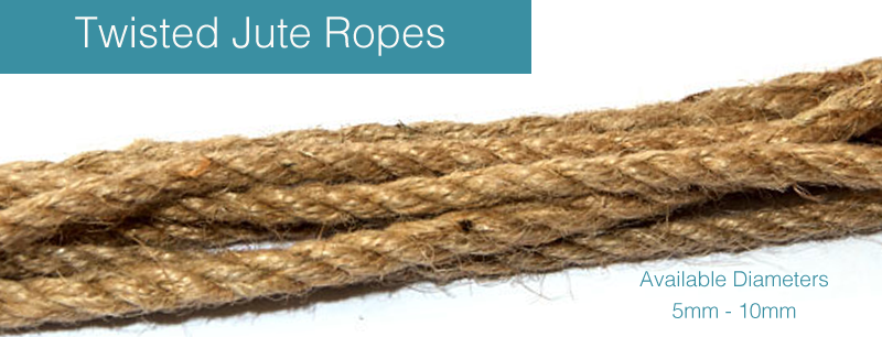 jutes ropes for sale in 5 to 10mm natural three strand natural jute