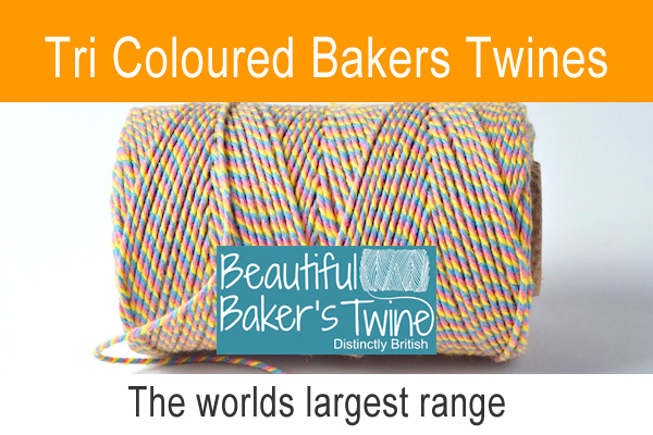 three coloured bakers twines in soft cotton 30 different colour combinations