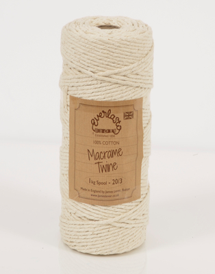 1KG EVERLASTO NATURAL COTTON MACRAME TWINE 20/3 (3.5MM) SPOOL