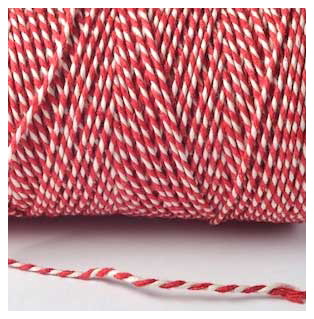 5 or 10 metres of 4mm Chunky RED SPARKLE Cotton stripy Bakers Twine  Christmas