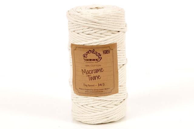 1KG SPOOL EVERLASTO NATURAL COTTON MACRAME TWINE 34/3 (5MM)
