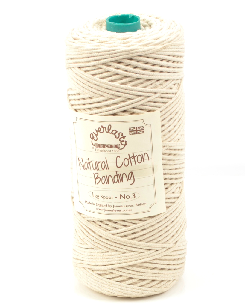 NO.3 (3MM) EVERLASTO NATURAL COTTON TUBULAR BANDING CORD 500G SPOOL