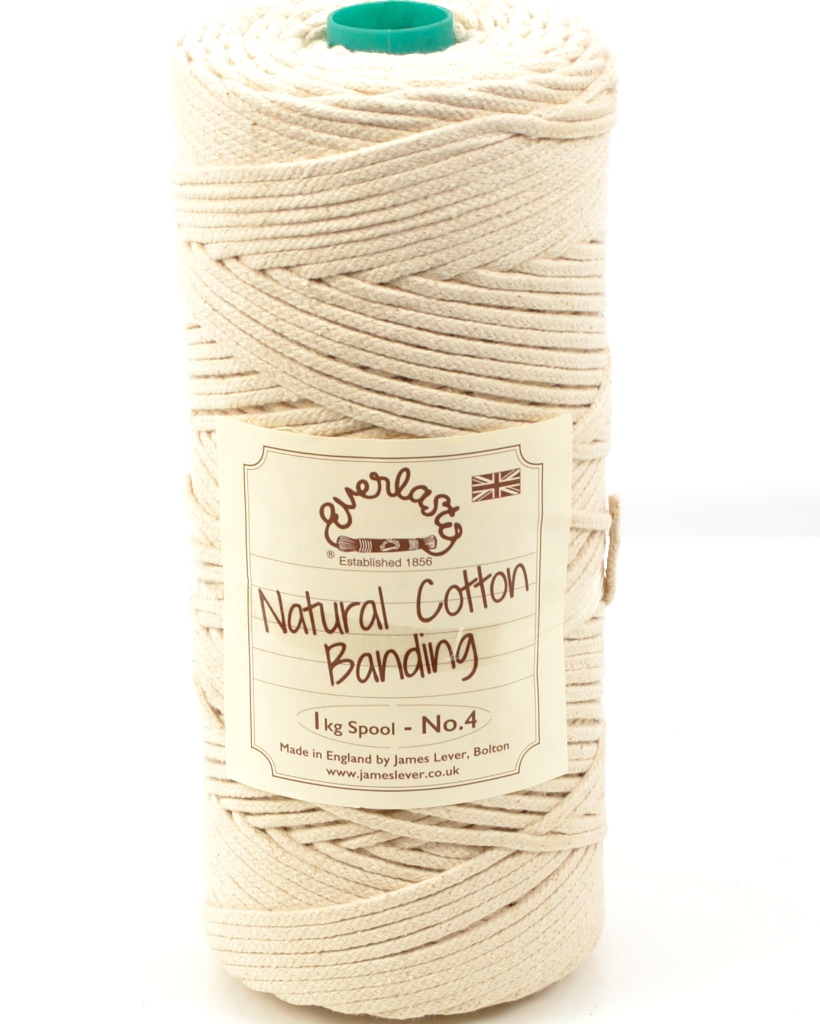 NO.4 (4MM) EVERLASTO NATURAL COTTON TUBULAR BANDING CORD 1KG SPOOL
